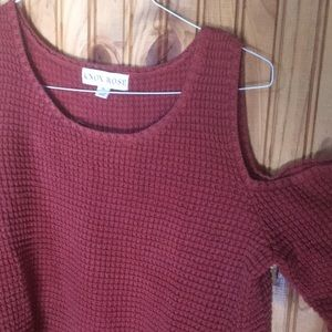 cold shoulder burnt orange chunky knit sweater